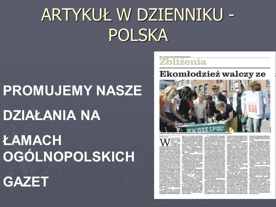 ARTYKUŁ W DZIENNIKU - POLSKA