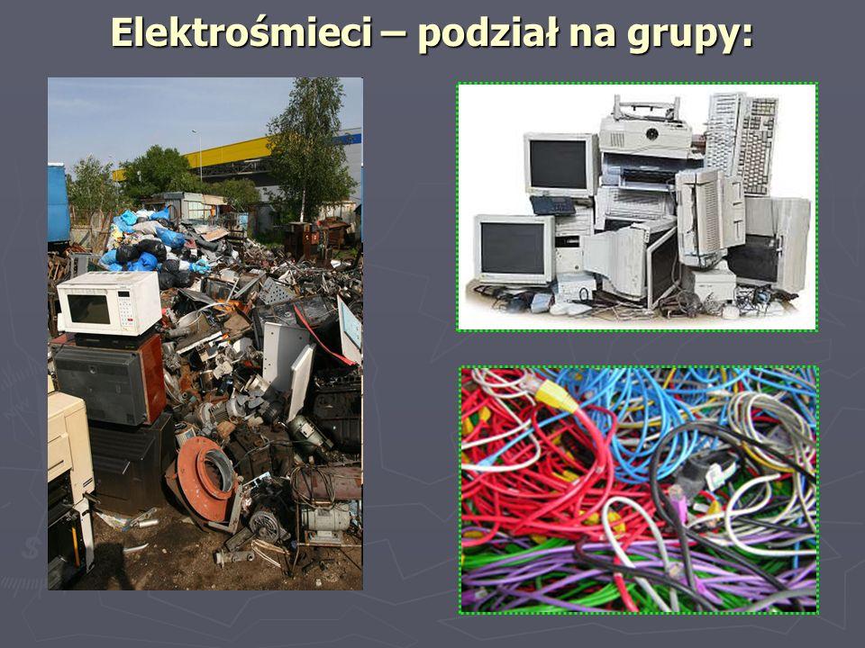 Elektrośmieci – podział na grupy: