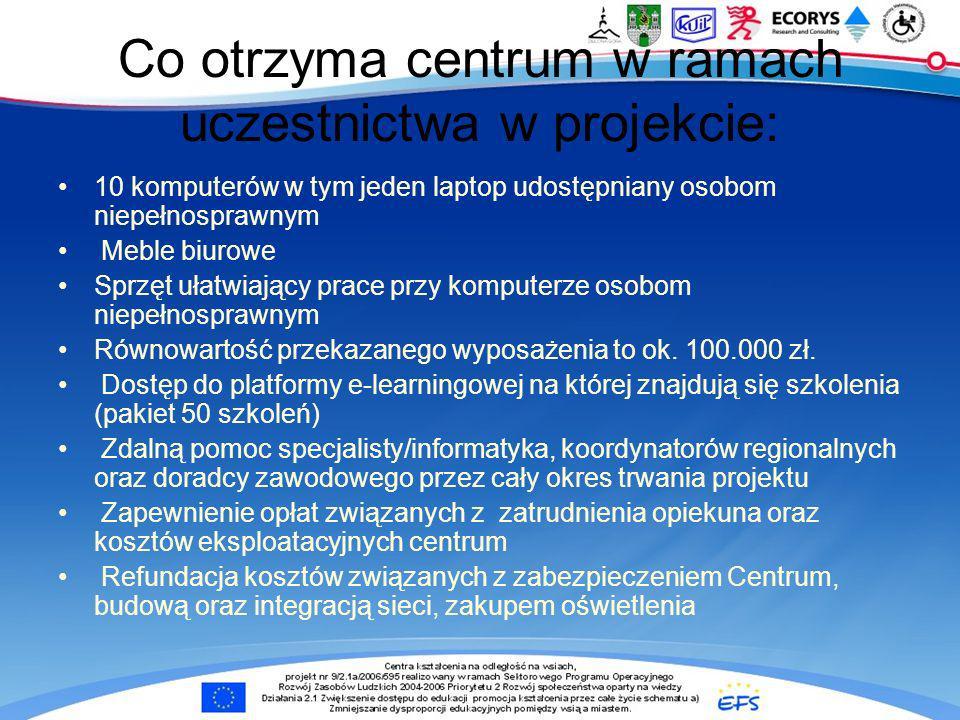 Co otrzyma centrum w ramach uczestnictwa w projekcie: