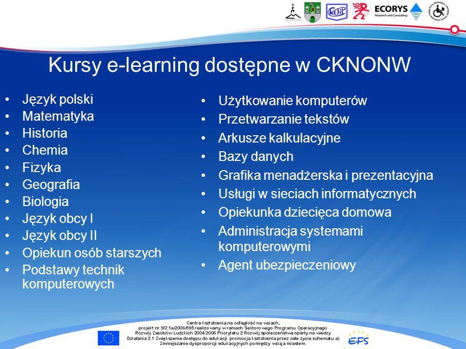 Kursy e-learning dostępne w CKNONW