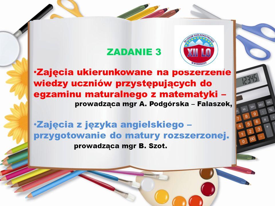 Zajęcia z języka angielskiego – przygotowanie do matury rozszerzonej.