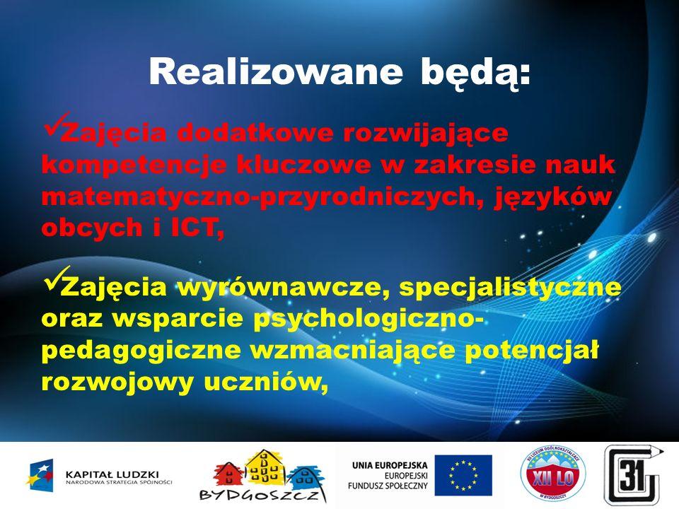 Realizowane będą: Zajęcia dodatkowe rozwijające kompetencje kluczowe w zakresie nauk matematyczno-przyrodniczych, języków obcych i ICT,