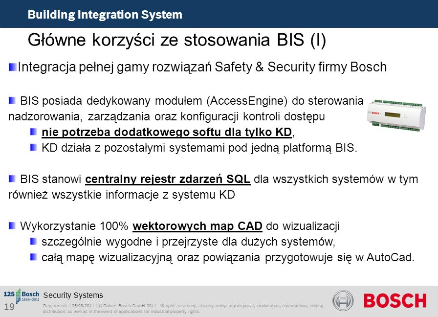 Główne korzyści ze stosowania BIS (I)