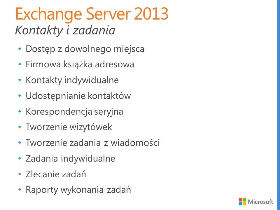 Exchange Server 2013 Kontakty i zadania Dostęp z dowolnego miejsca
