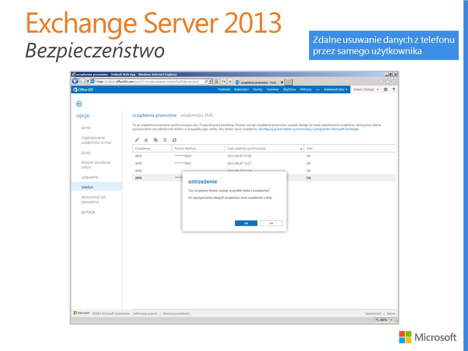 Exchange Server 2013 Bezpieczeństwo Zdalne usuwanie danych z telefonu