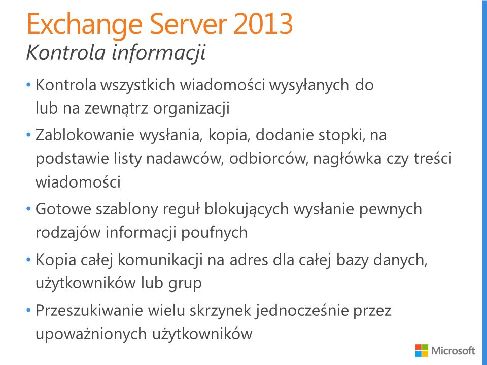 Exchange Server 2013 Kontrola informacji