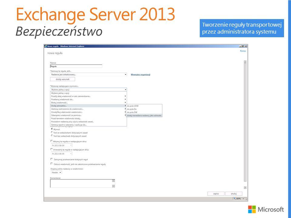 Exchange Server 2013 Bezpieczeństwo