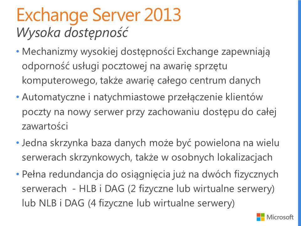 Exchange Server 2013 Wysoka dostępność