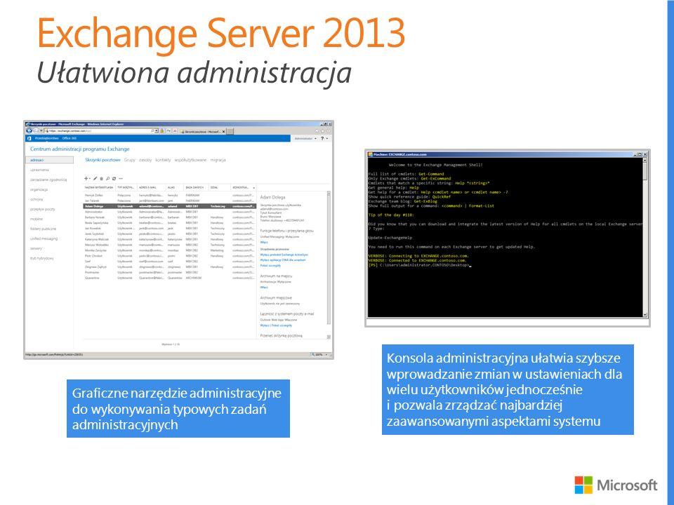 Exchange Server 2013 Ułatwiona administracja