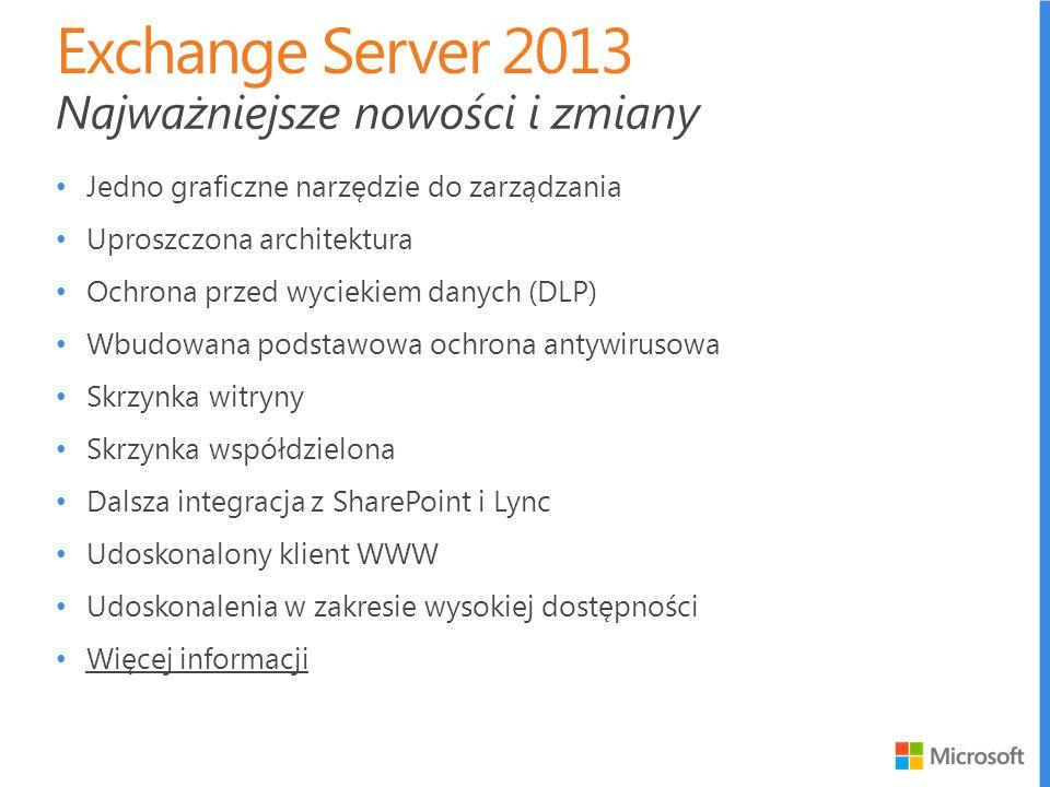 Exchange Server 2013 Najważniejsze nowości i zmiany