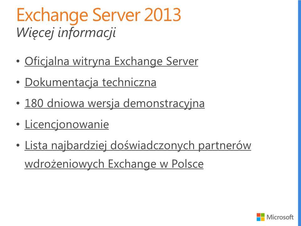 Exchange Server 2013 Więcej informacji
