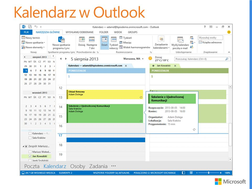 Kalendarz w Outlook