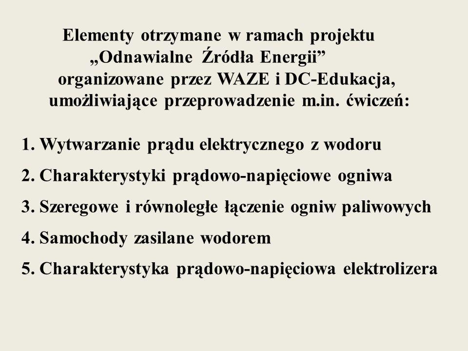 """Elementy otrzymane w ramach projektu """"Odnawialne Źródła Energii organizowane przez WAZE i DC-Edukacja, umożliwiające przeprowadzenie m.in. ćwiczeń: 1. Wytwarzanie prądu elektrycznego z wodoru"""