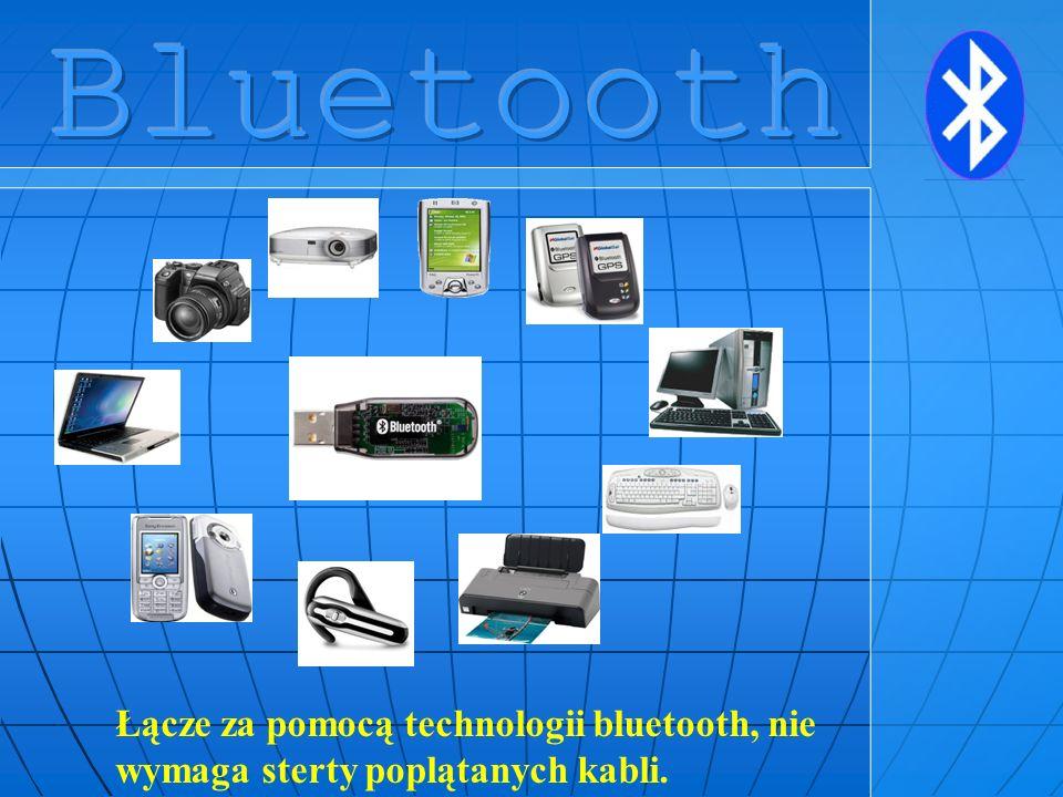 Bluetooth Łącze za pomocą technologii bluetooth, nie wymaga sterty poplątanych kabli.