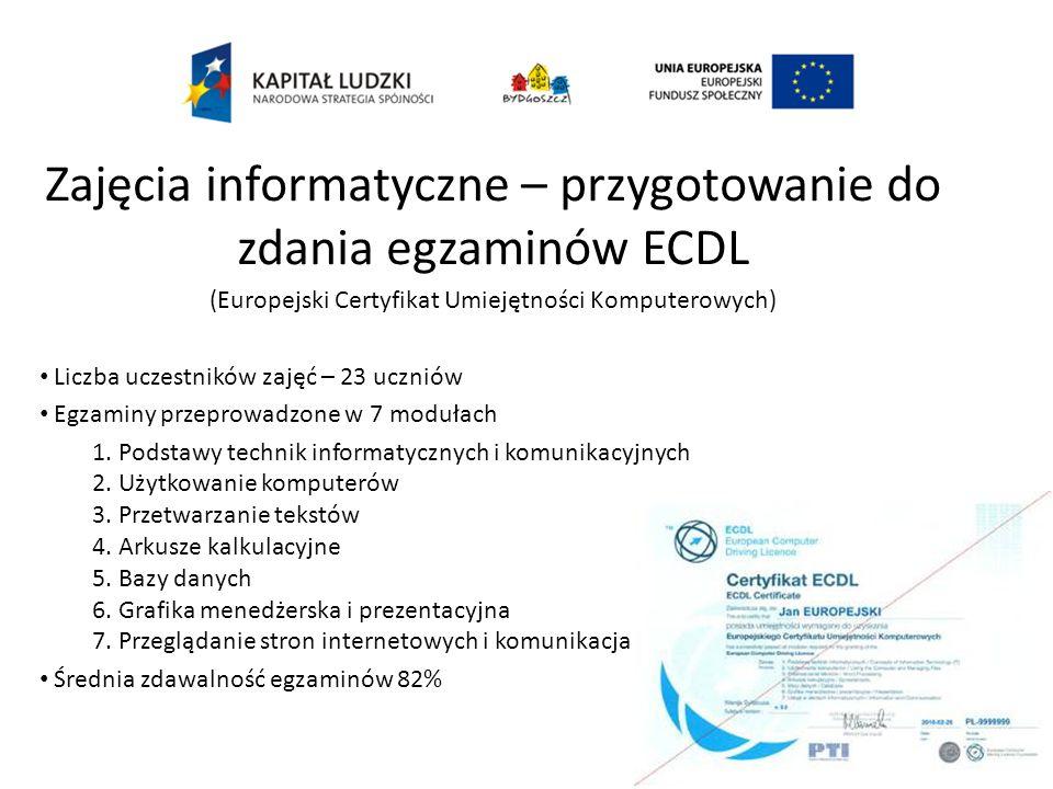 Zajęcia informatyczne – przygotowanie do zdania egzaminów ECDL