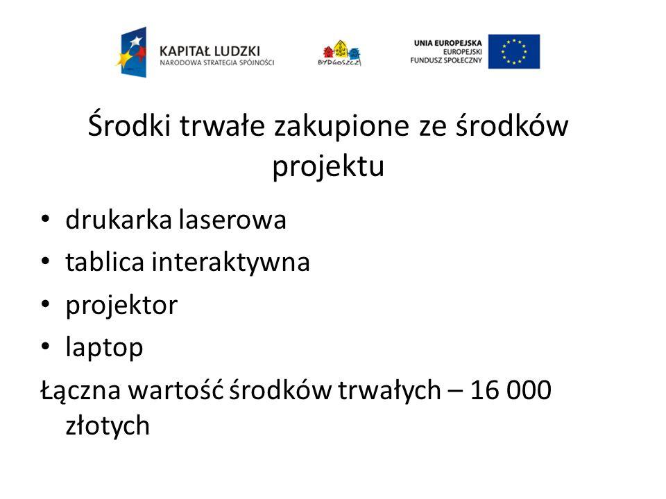Środki trwałe zakupione ze środków projektu