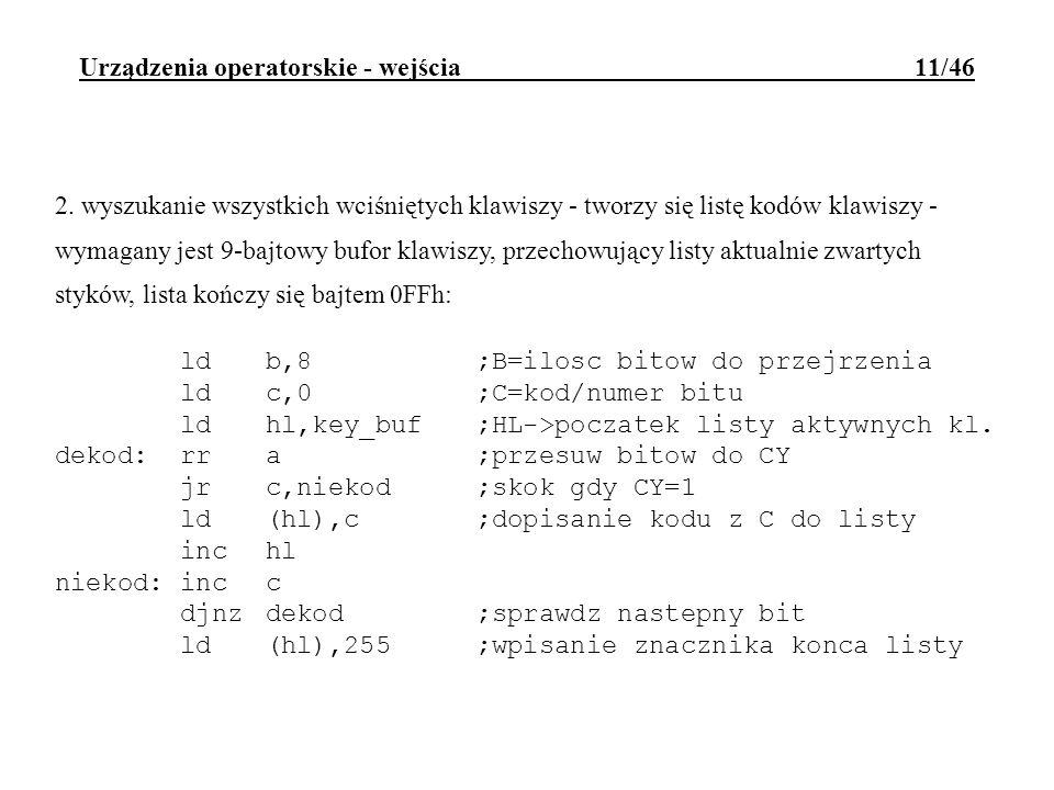 Urządzenia operatorskie - wejścia 11/46