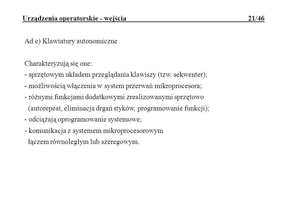 Urządzenia operatorskie - wejścia 21/46