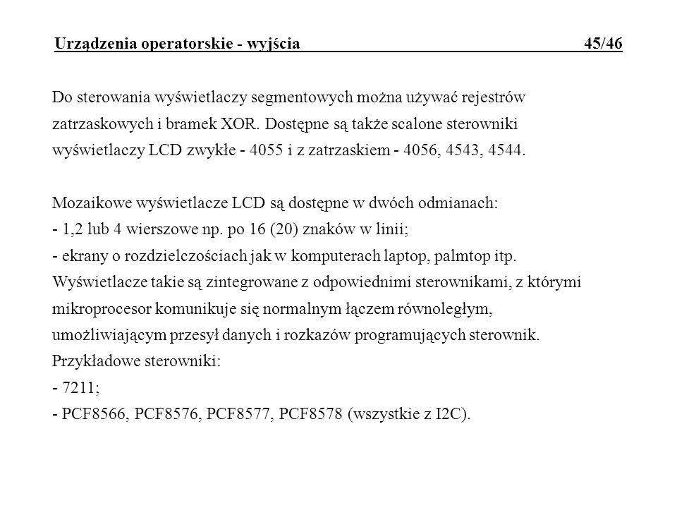 Urządzenia operatorskie - wyjścia 45/46