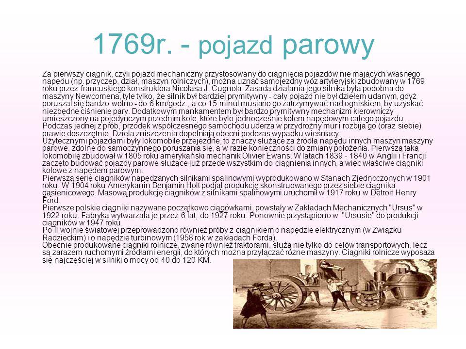 1769r. - pojazd parowy