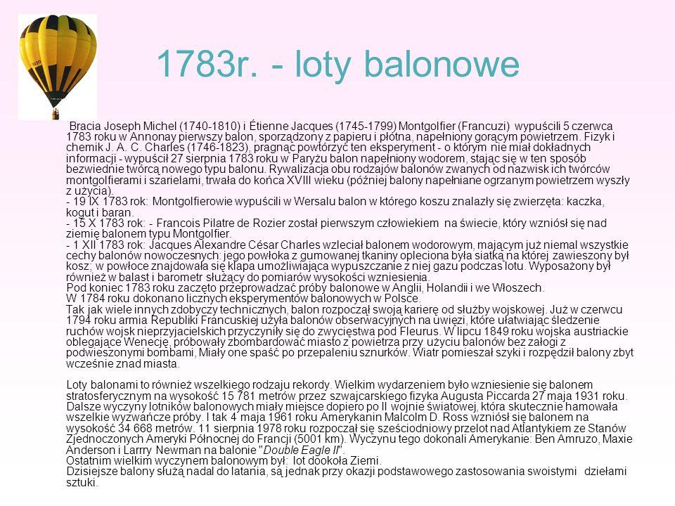 1783r. - loty balonowe