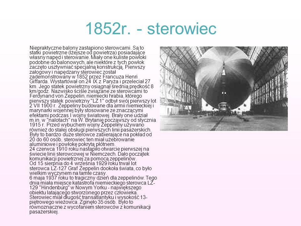 1852r. - sterowiec