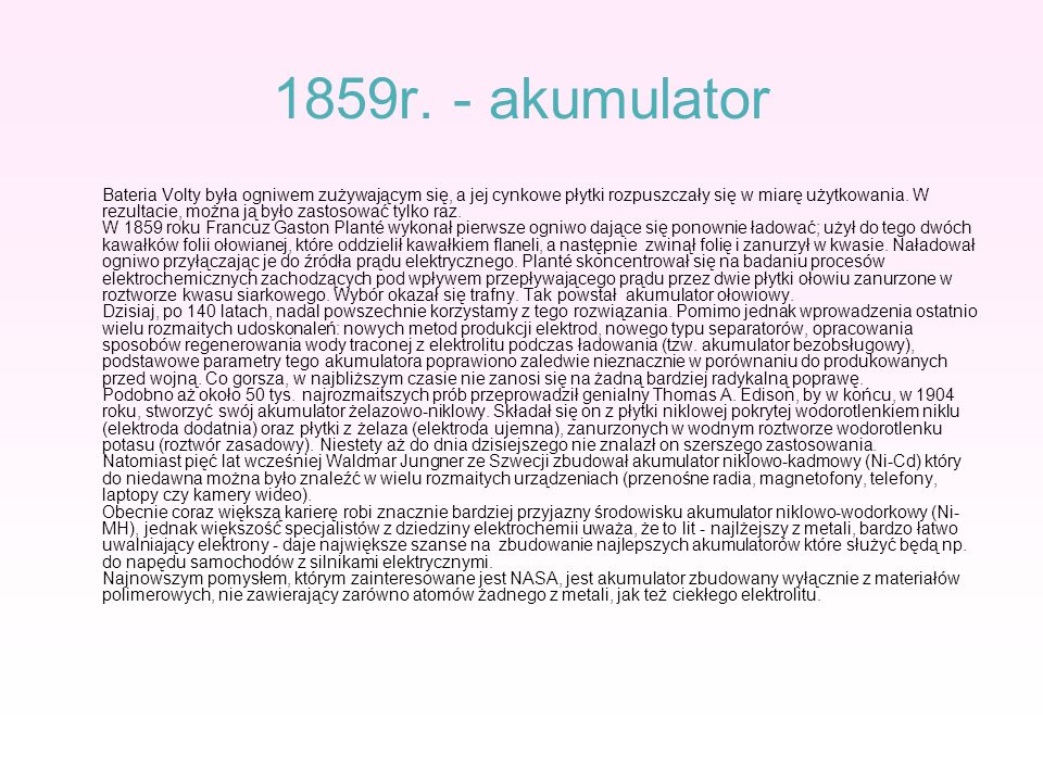 1859r. - akumulator