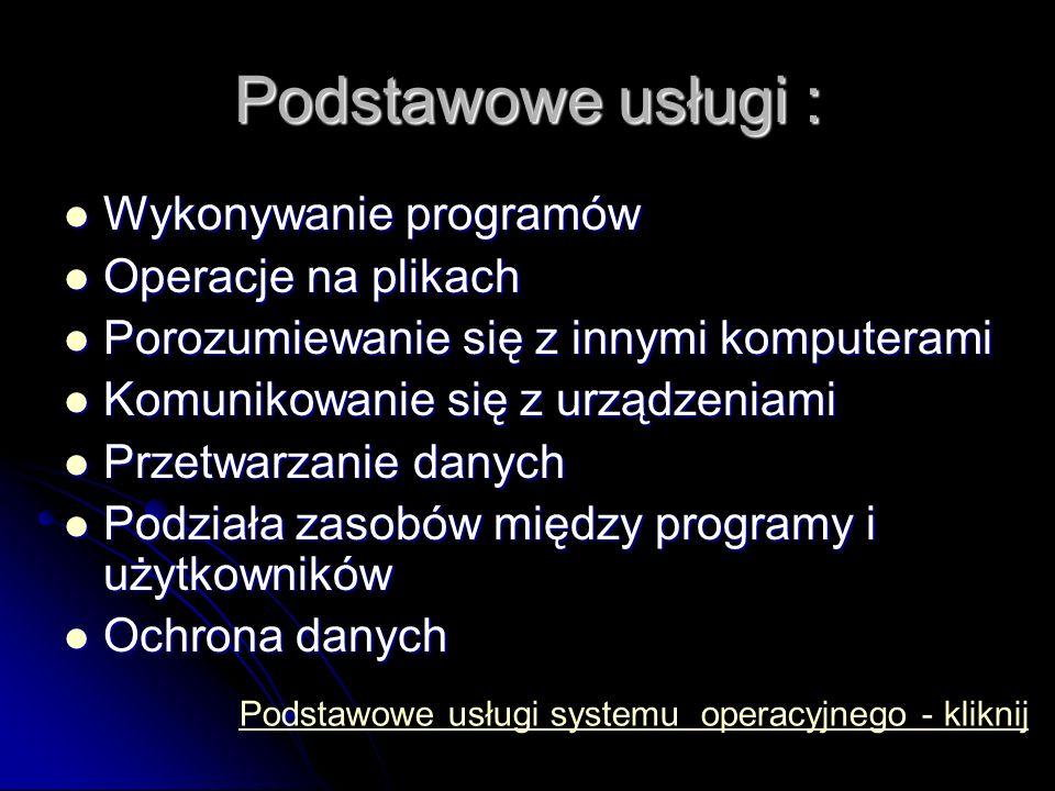 Podstawowe usługi : Wykonywanie programów Operacje na plikach