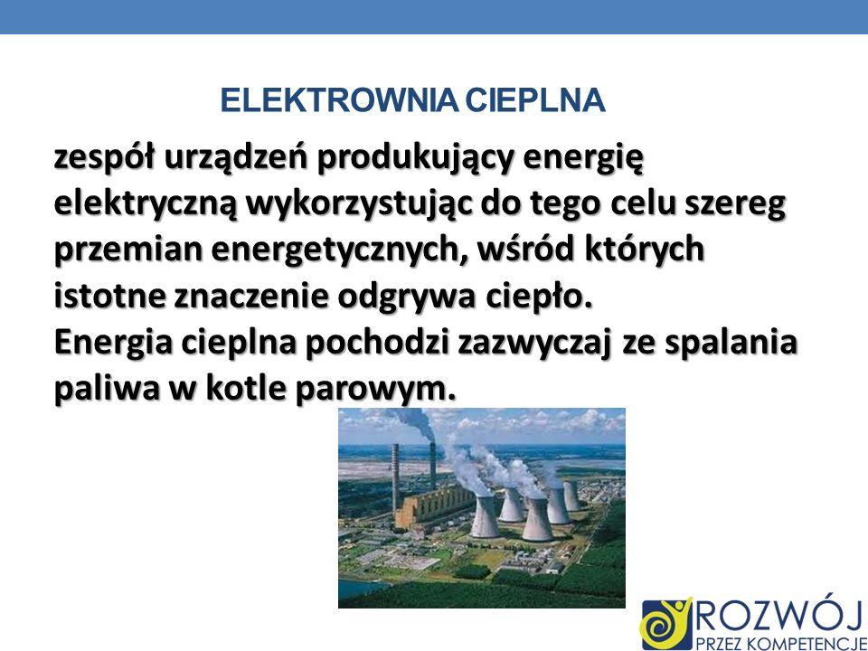 Energia cieplna pochodzi zazwyczaj ze spalania paliwa w kotle parowym.