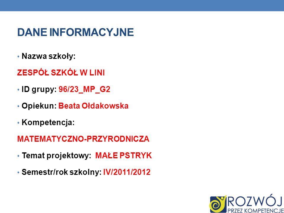 Dane INFORMACYJNE Nazwa szkoły: ZESPÓŁ SZKÓŁ W LINI