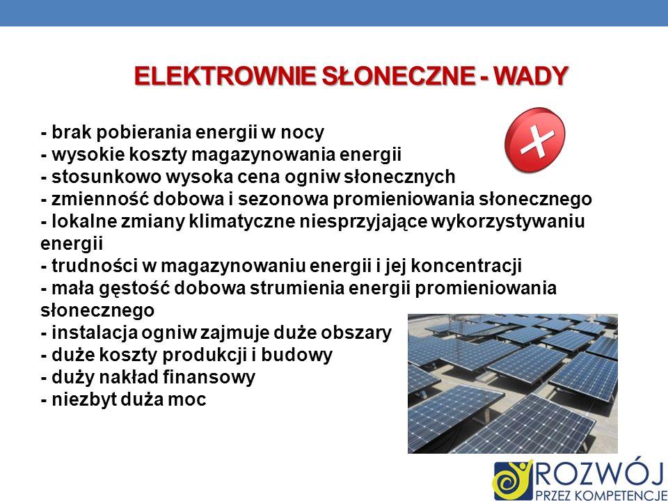 Elektrownie słoneczne - wady