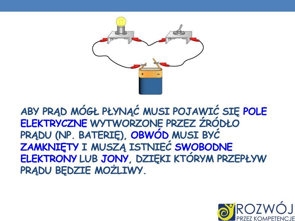 Aby prąd mógł płynąć musi pojawić się pole elektryczne wytworzone przez źródło prądu (np.