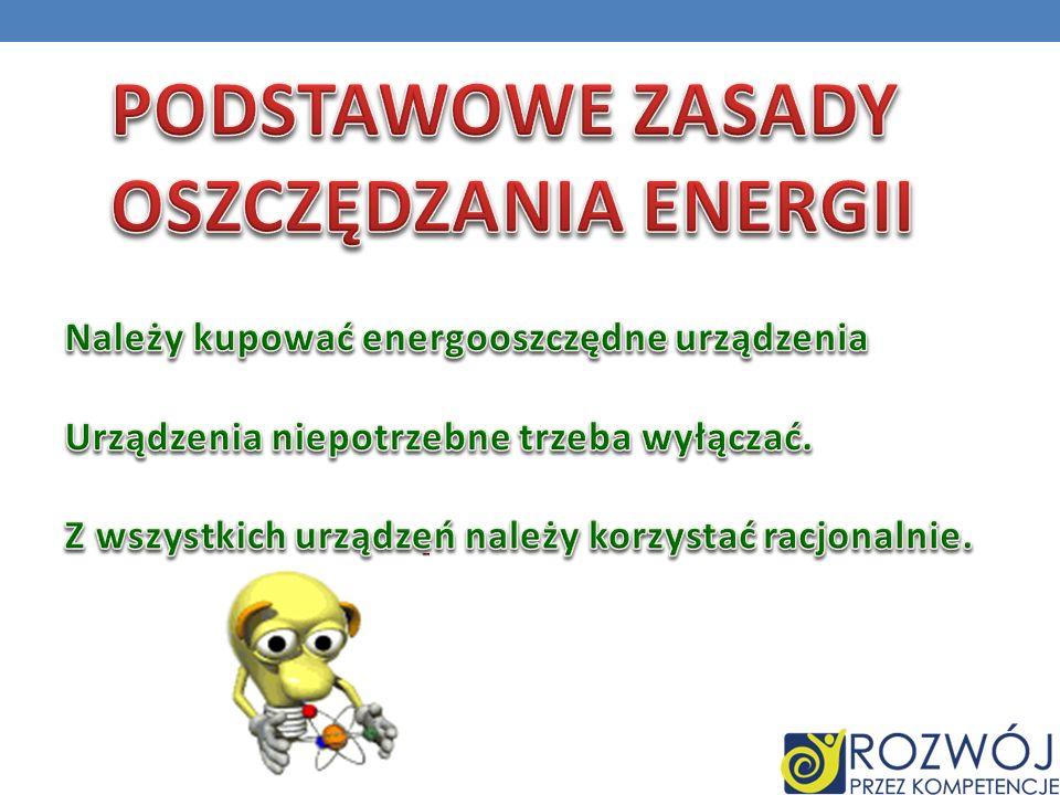 PODSTAWOWE ZASADY OSZCZĘDZANIA ENERGII