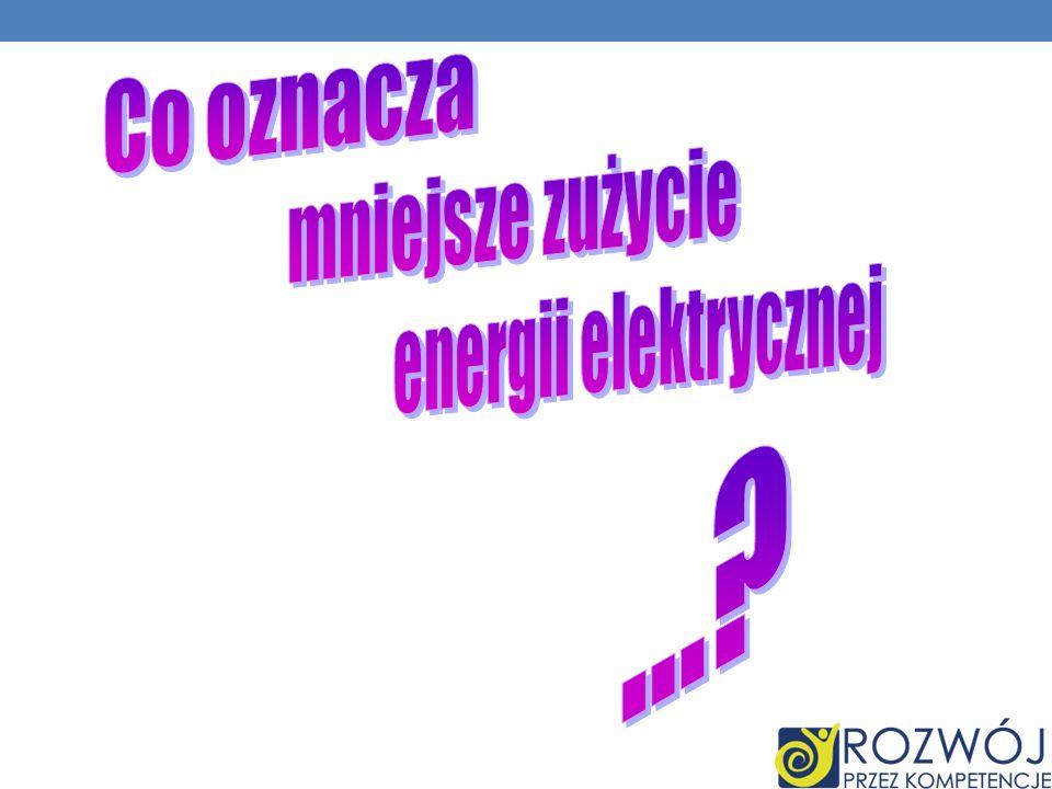 Co oznacza mniejsze zużycie energii elektrycznej ...