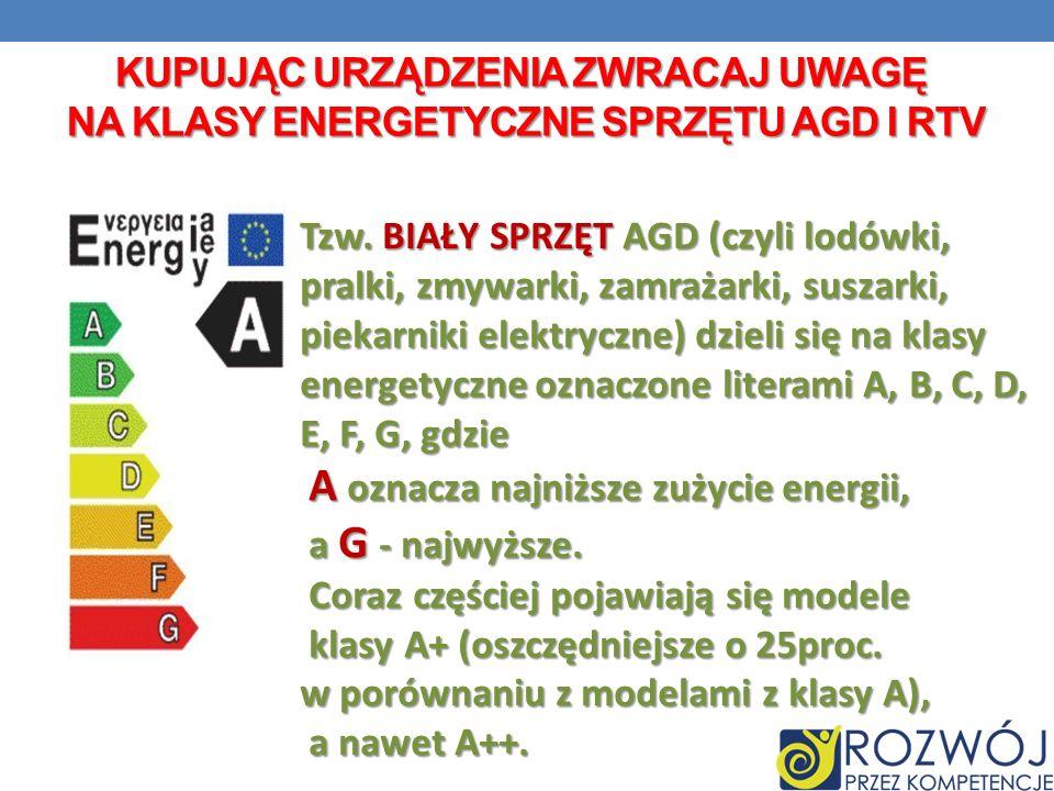 KUPUJĄC URZĄDZENIA ZWRACAJ UWAGĘ NA Klasy energetyczne sprzętu agd i rtv