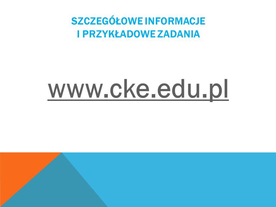 Szczegółowe informacje i przykładowe zadania