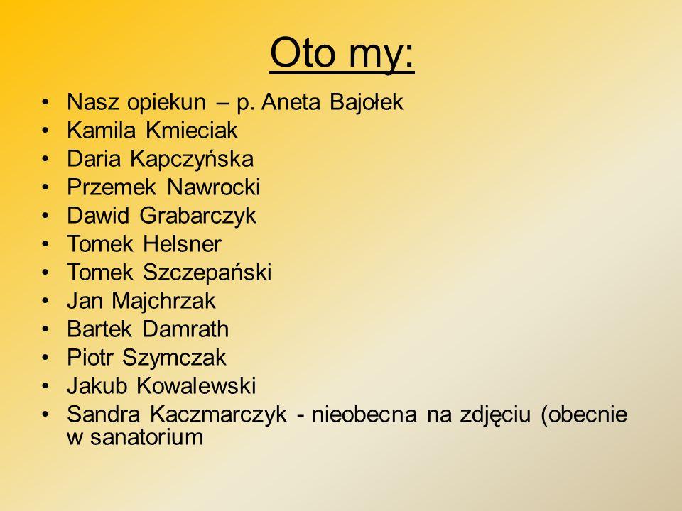 Oto my: Nasz opiekun – p. Aneta Bajołek Kamila Kmieciak