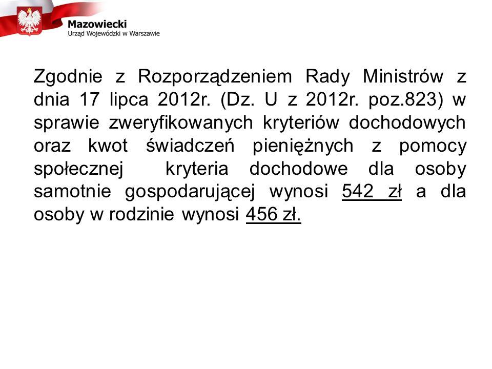 Zgodnie z Rozporządzeniem Rady Ministrów z dnia 17 lipca 2012r. (Dz