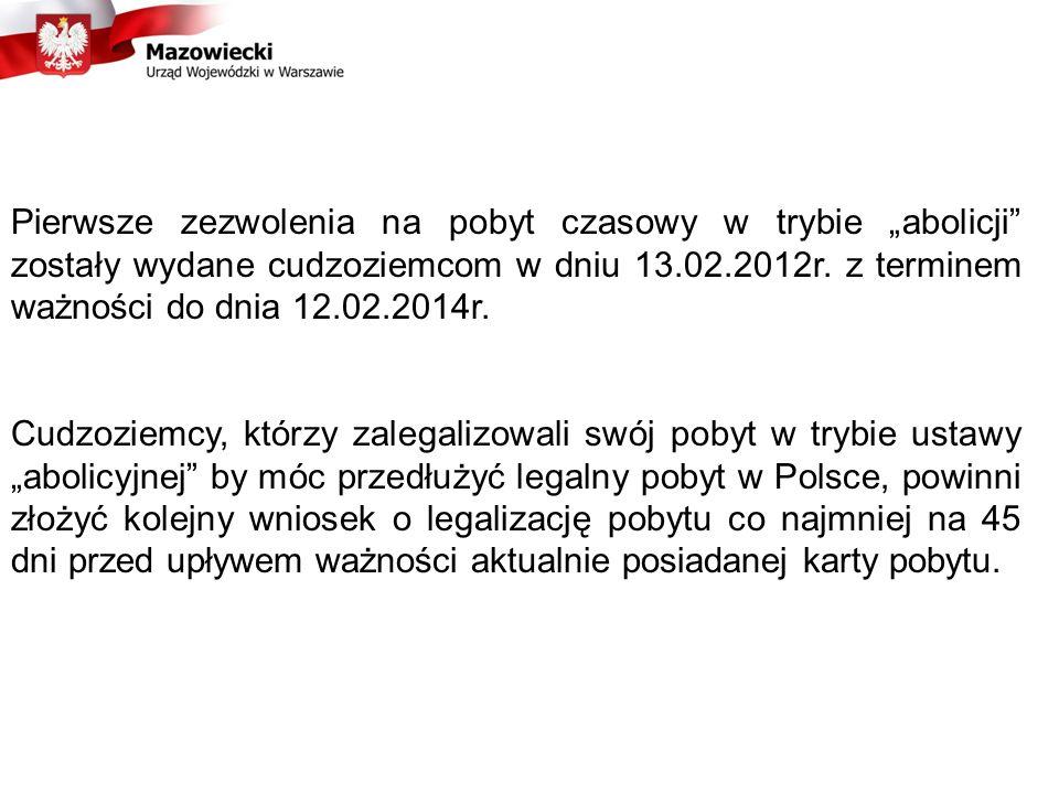 """Pierwsze zezwolenia na pobyt czasowy w trybie """"abolicji zostały wydane cudzoziemcom w dniu 13.02.2012r. z terminem ważności do dnia 12.02.2014r."""
