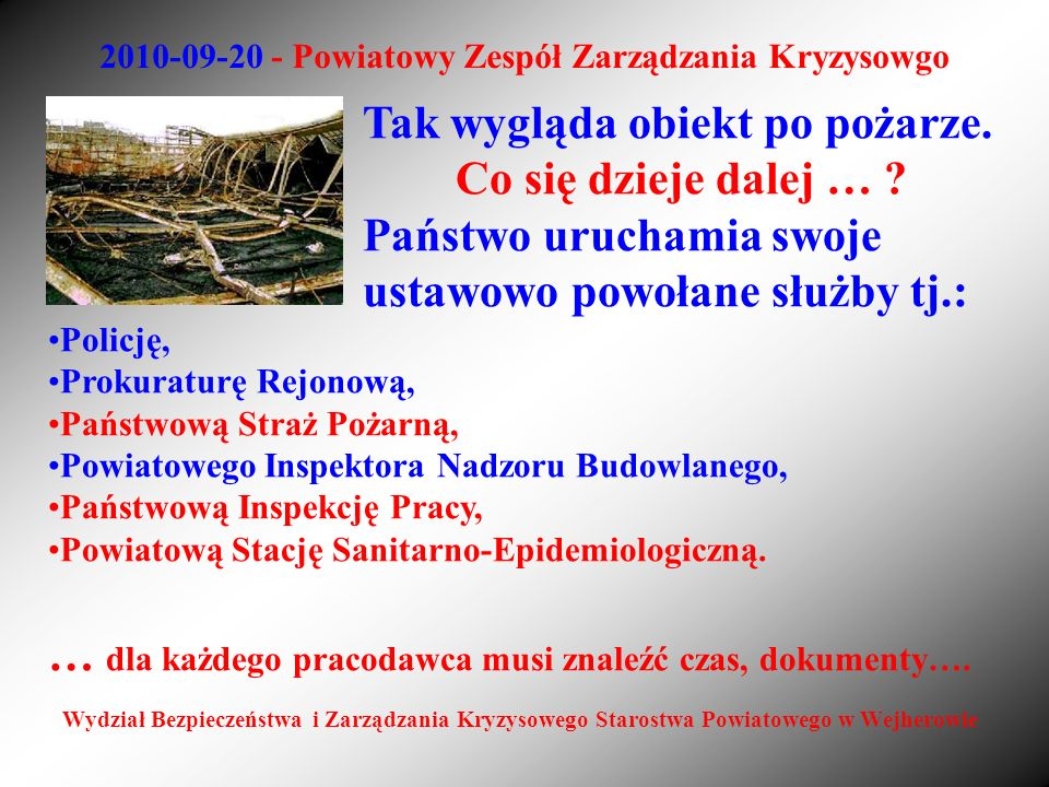 2010-09-20 - Powiatowy Zespół Zarządzania Kryzysowgo