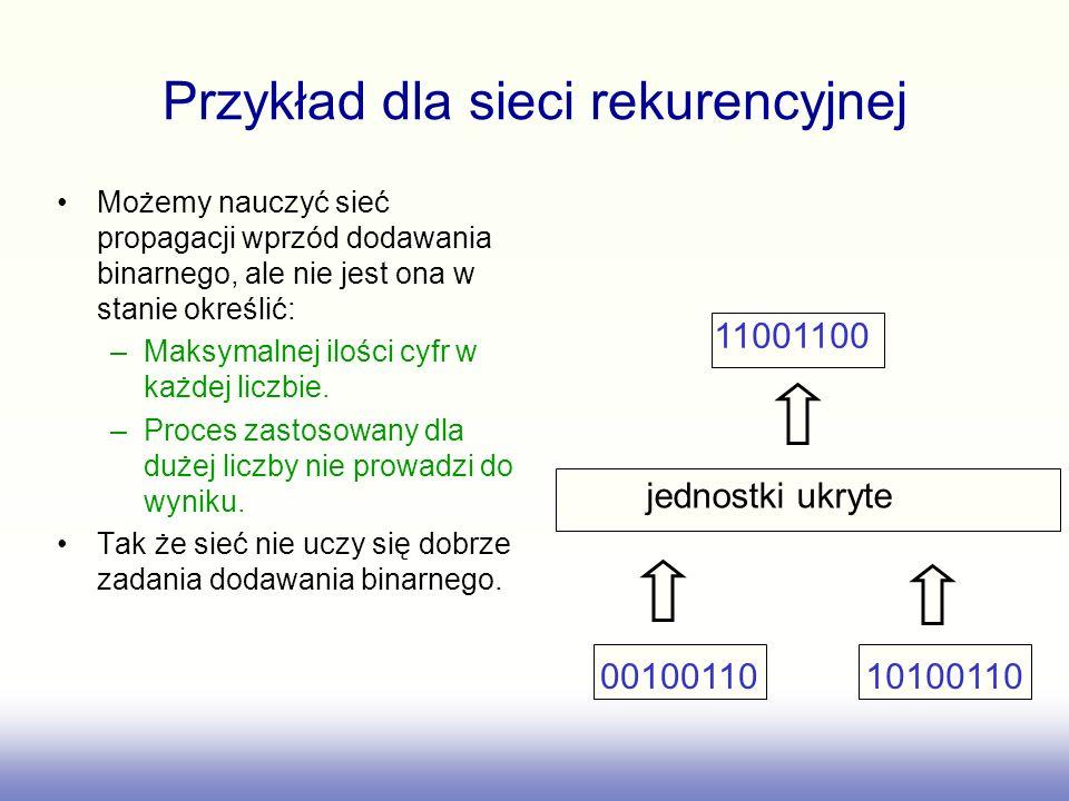 Przykład dla sieci rekurencyjnej