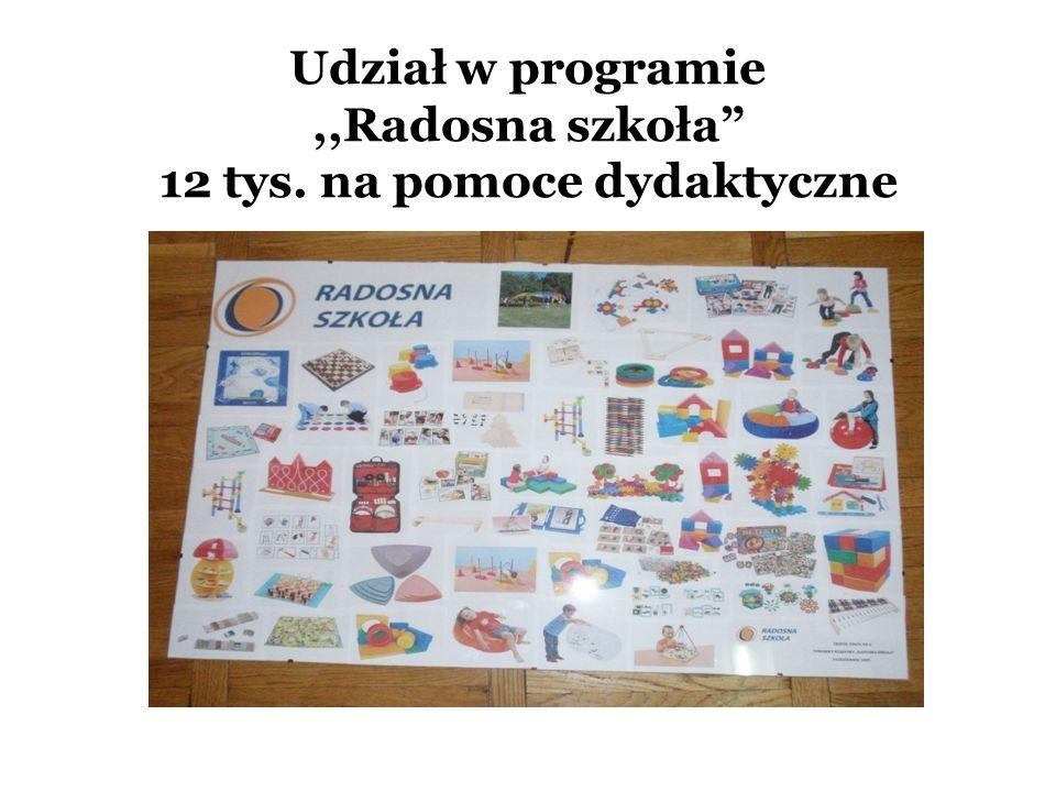 Udział w programie ,,Radosna szkoła 12 tys. na pomoce dydaktyczne