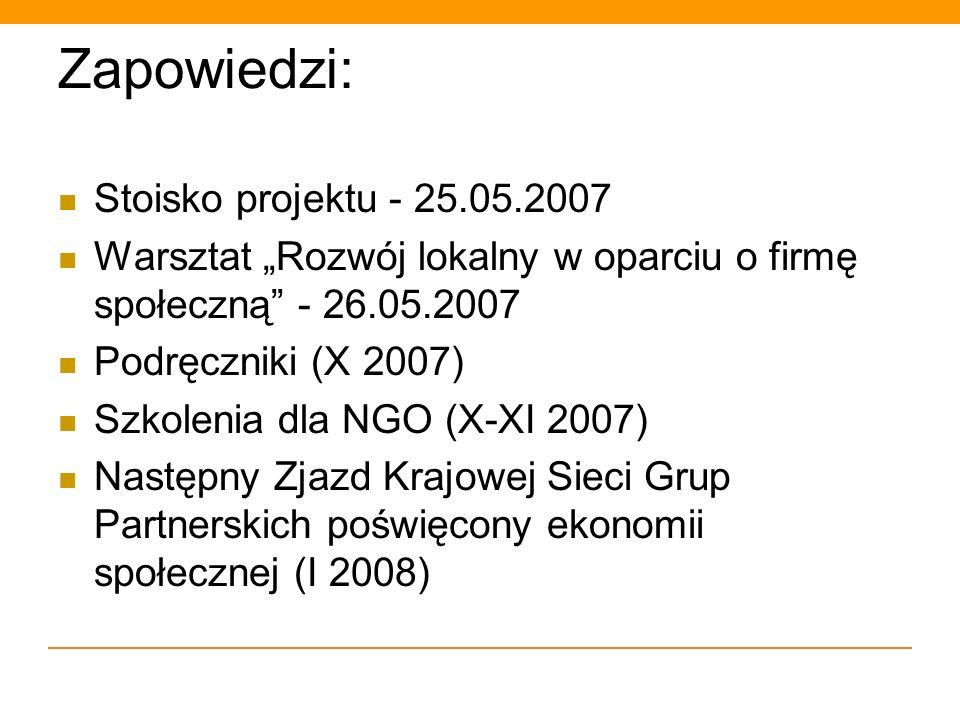 Zapowiedzi: Stoisko projektu - 25.05.2007