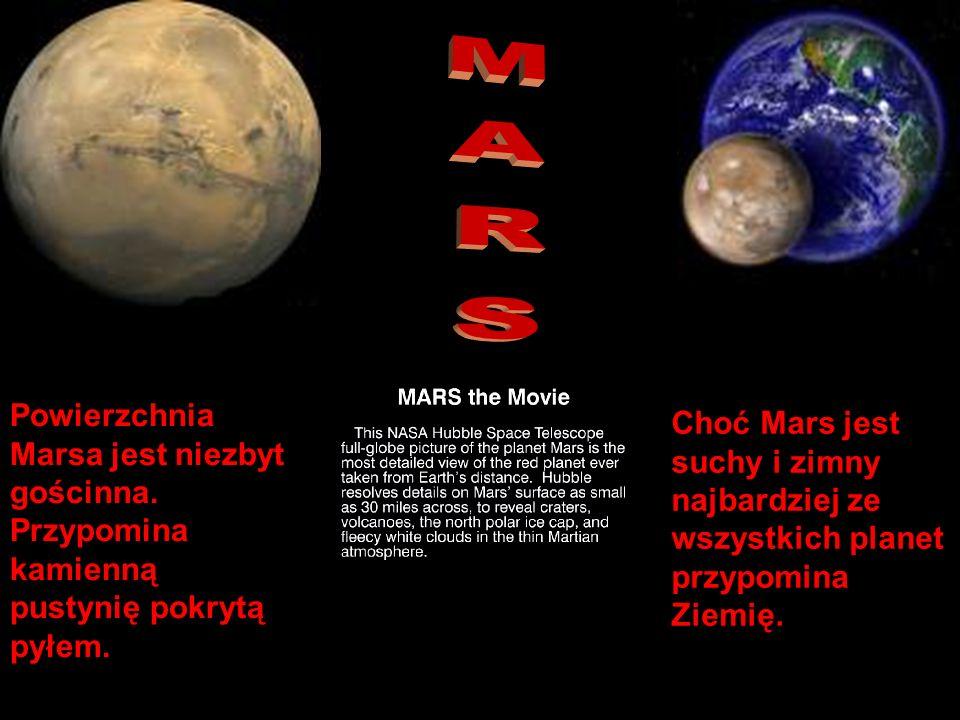 MARS Powierzchnia Marsa jest niezbyt gościnna. Przypomina kamienną pustynię pokrytą pyłem.