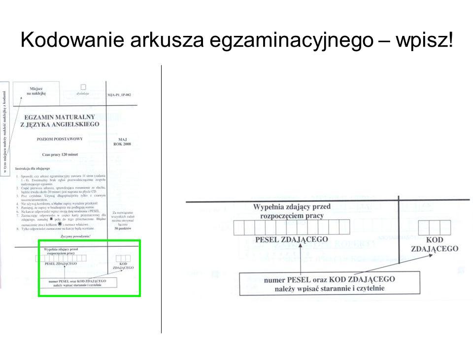 Kodowanie arkusza egzaminacyjnego – wpisz!