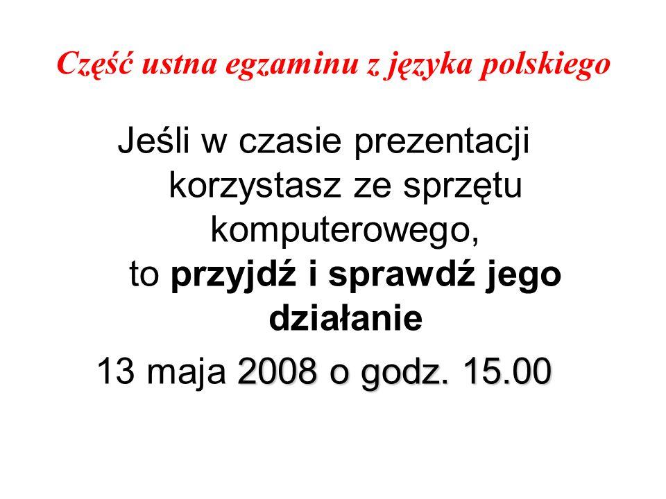Część ustna egzaminu z języka polskiego