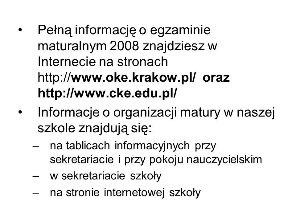 Informacje o organizacji matury w naszej szkole znajdują się: