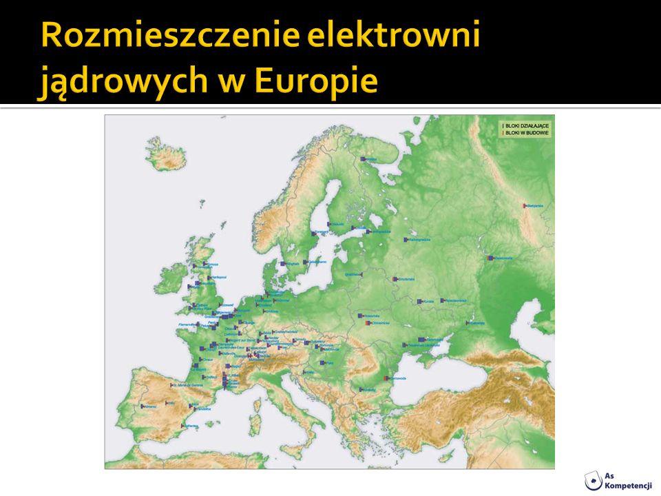 Rozmieszczenie elektrowni jądrowych w Europie