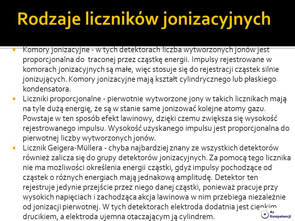 Rodzaje liczników jonizacyjnych