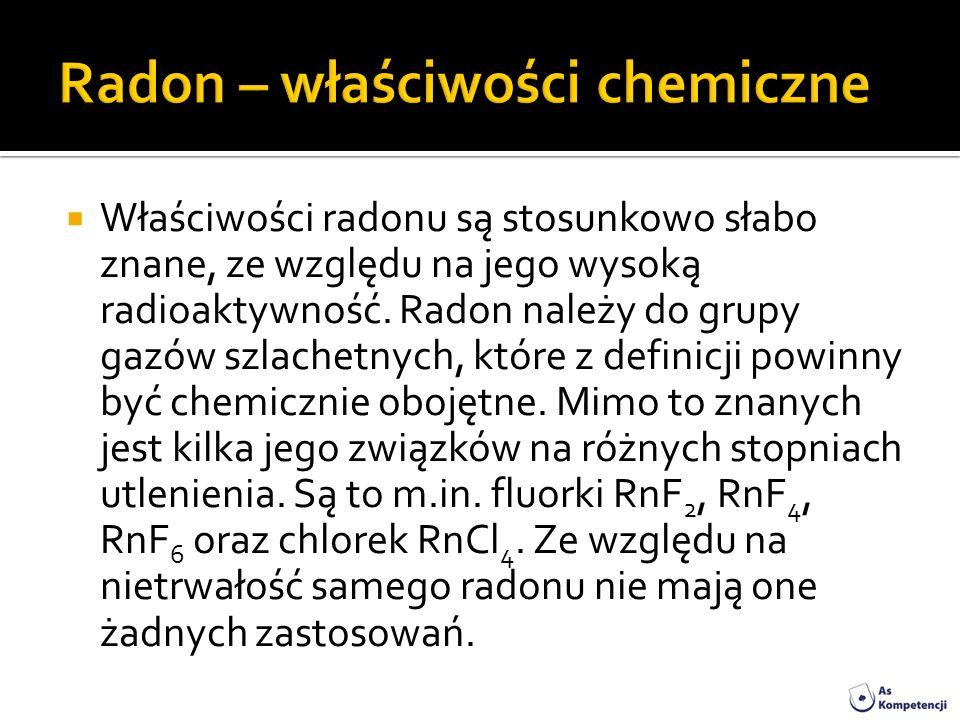 Radon – właściwości chemiczne